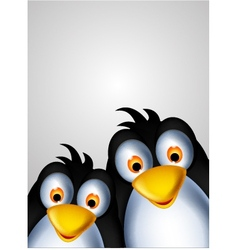 cute couple penguin cartoon vector image