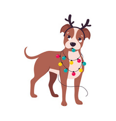 cute dog with deer antlers and garland symbol of vector image