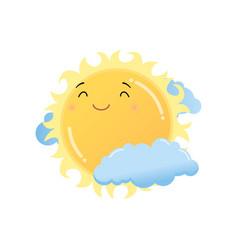 Cute satisfied yellow sun in clouds emoji sticker vector