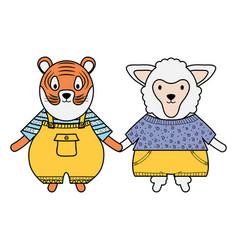 Cute sheep and tiger with umbrella vector