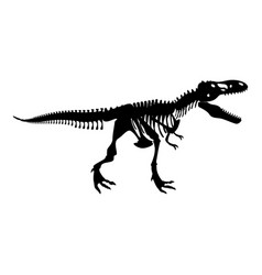 Dinosaur skeleton t rex icon black color flat vector