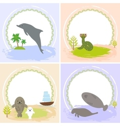 Dolphin snake manatees seals set of cards vector