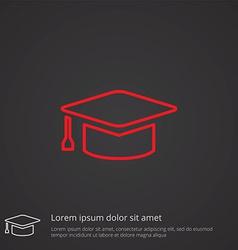 Education outline symbol red on dark background vector