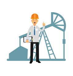 Engineer of oil industry character standing next vector