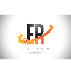 er e r letter logo with fire flames design and vector image
