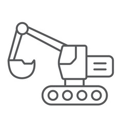 Excavator thin line icon transport and machine vector