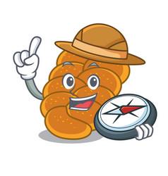 Explorer challah mascot cartoon style vector