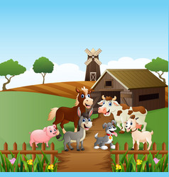 Farm animals at cage background vector