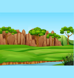 field landscape with mani trees and river vector image