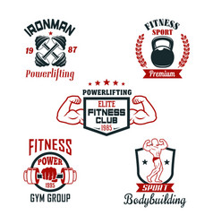 Fitness sport club gym and bodybuilding badge set vector