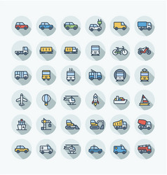 flat color thin line icons set with public vector image
