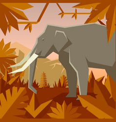 Flat geometric jungle background with elephant vector