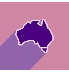 Flat icon with long shadow map of australia vector