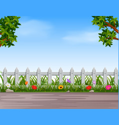 garden with wooden fence and road vector image