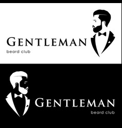 Gentleman logotype beard club hipster in tuxedo vector