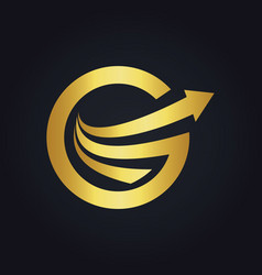Gold arrow letter g round business logo vector