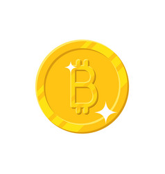 gold bitcoin coin cartoon style isolated vector image