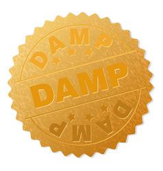 Gold damp medallion stamp vector