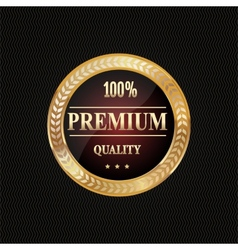 Golden label premium quality vector image