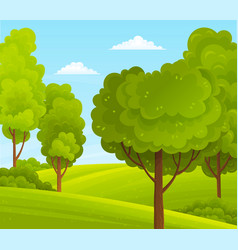 green bright trees with a lush crown thick brown vector image