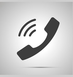 handset with sound waves simple black icon vector image