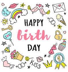 happy birthday lettering with girly doodles vector image