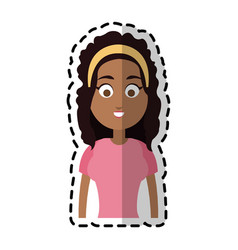 Happy dark skin young pretty woman cartoon icon vector
