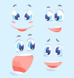 Happy facial expressions cartoon set vector