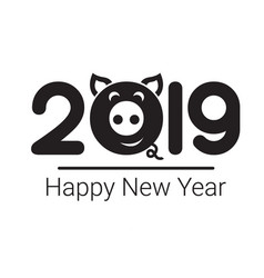 happy new year 2019 pig chines new year vector image