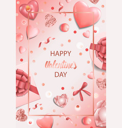 happy valentines day a pink greeting card vector image