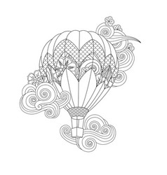 hot air balloon in entangle inspired doodle style vector image