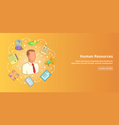 human resources banner horizontal cartoon style vector image
