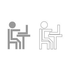 human working at the laptop grey set icon vector image