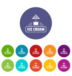 Ice cream stand icons set color vector