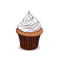 Isolated Creamy Cupcake vector
