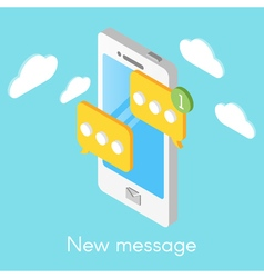 isometric smartphone with new messages vector image
