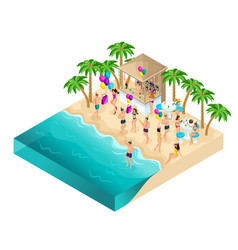isometry dancing on beach party birthday vector image