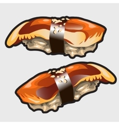 Japanese sushi with eel food icon vector