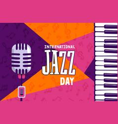 Jazz day piano microphone instrument cartoon card vector