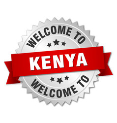 Kenya 3d silver badge with red ribbon vector