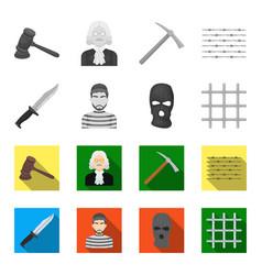 knife prisoner mask on face steel grille vector image