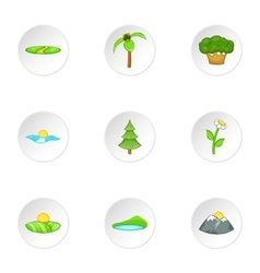 Landscape icons set cartoon style vector