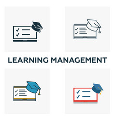 Learning management icon set four elements in vector