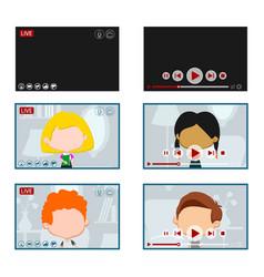 live and offline video screens set vector image