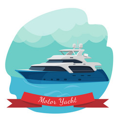 luxury two-deck motor yacht sailing in ocean vector image