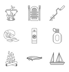 marine fauna icons set outline style vector image