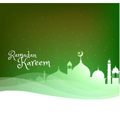 Masjid silhouette on green background with wave vector