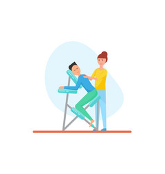 Massage back using special chair icon vector