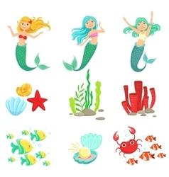 Mermaids And Underwater Nature Stickers vector