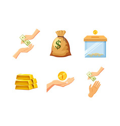 money icon set cartoon style vector image